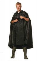 Regenponcho mit Reflexstreifen, schwarz, 100% Polyester, mit Kapuze und Zugband