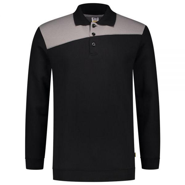 Sweatshirt Polokragen Bicolor Quernaht