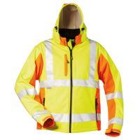 Warnschutz-Softshell Jacke leuchtgelb/leuchtorange, EN ISO 20471 Klasse 3, EN ISO 13688